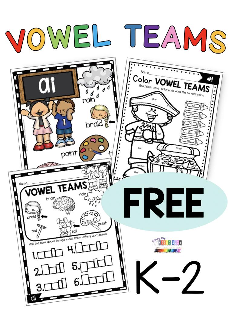 Phonics Freebie For Kindergarten Beginning The School Year Baseline In 2020 Vowel Teams Activities Vowel Teams Worksheets Vowel Team