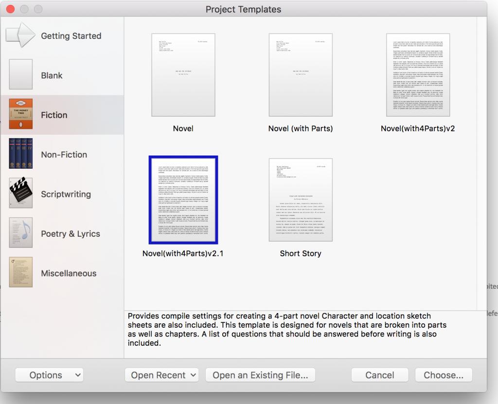 scrivener template 4 part novel - Scrivener Resume Template