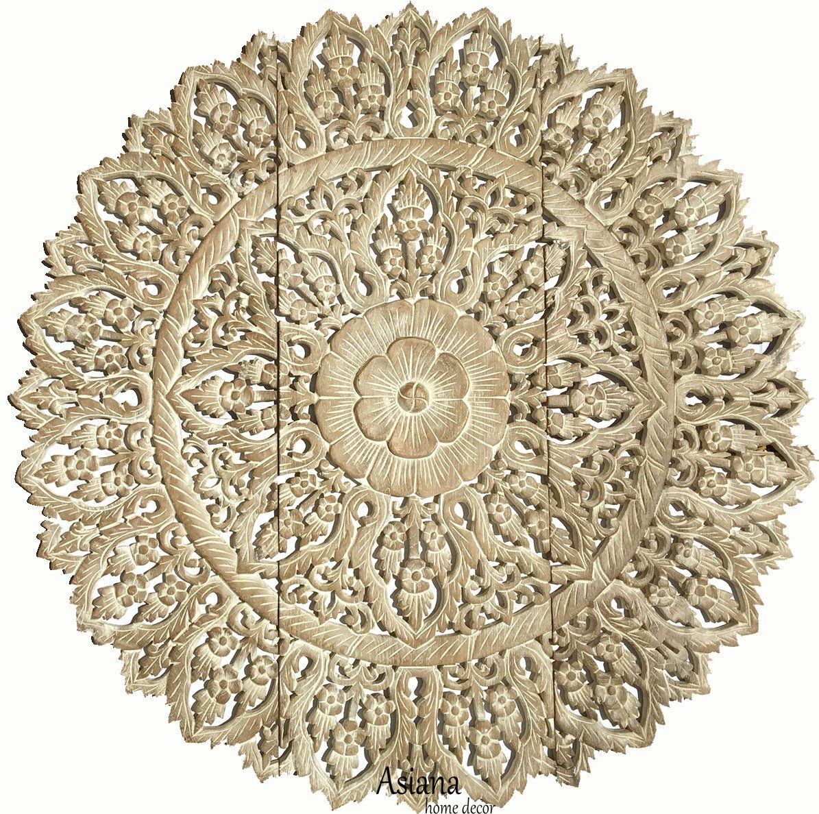 Elegant wood carved wall plaque large round unique thai wood