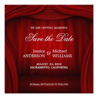 rote mitteilung des vorhangs save the date individuelle, Einladungen