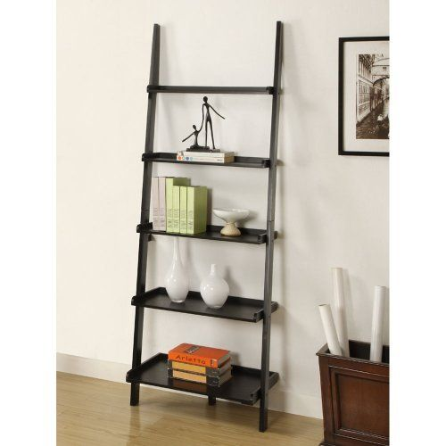 Mintra Black Finish 5 Tier Ladder Book Shelf By MINTRA 6900 Assembly Required Measures 25 Inch Wide 17 Deep 72 High