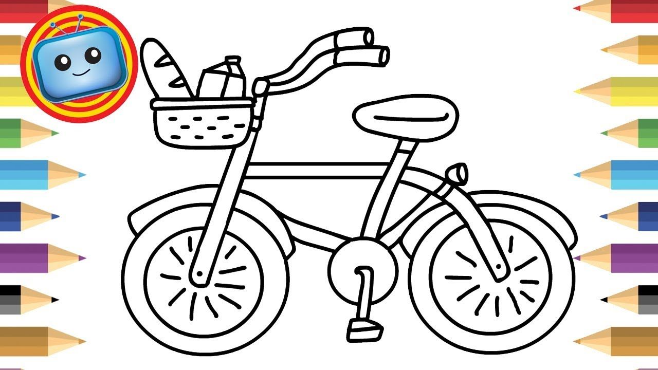 How To Draw A Bicycle Colouring Book Simple Drawing Game