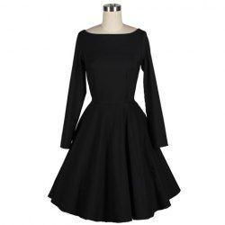 Robe Noire vintage Plissée Col Bateau Manche Longue pour Femmes