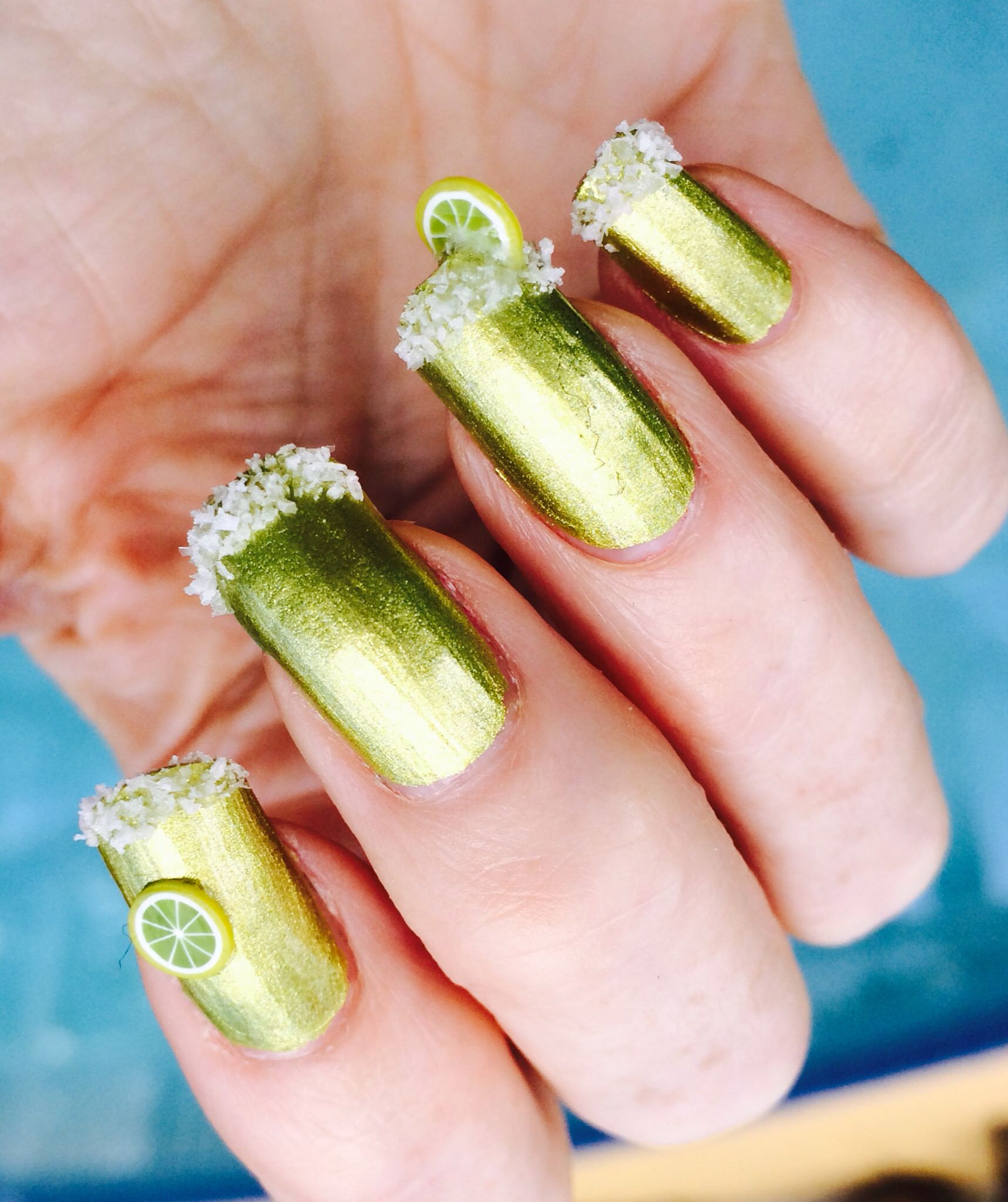 Salted rim margarita nails. Okay, so I wouldn\'t actually wear these ...