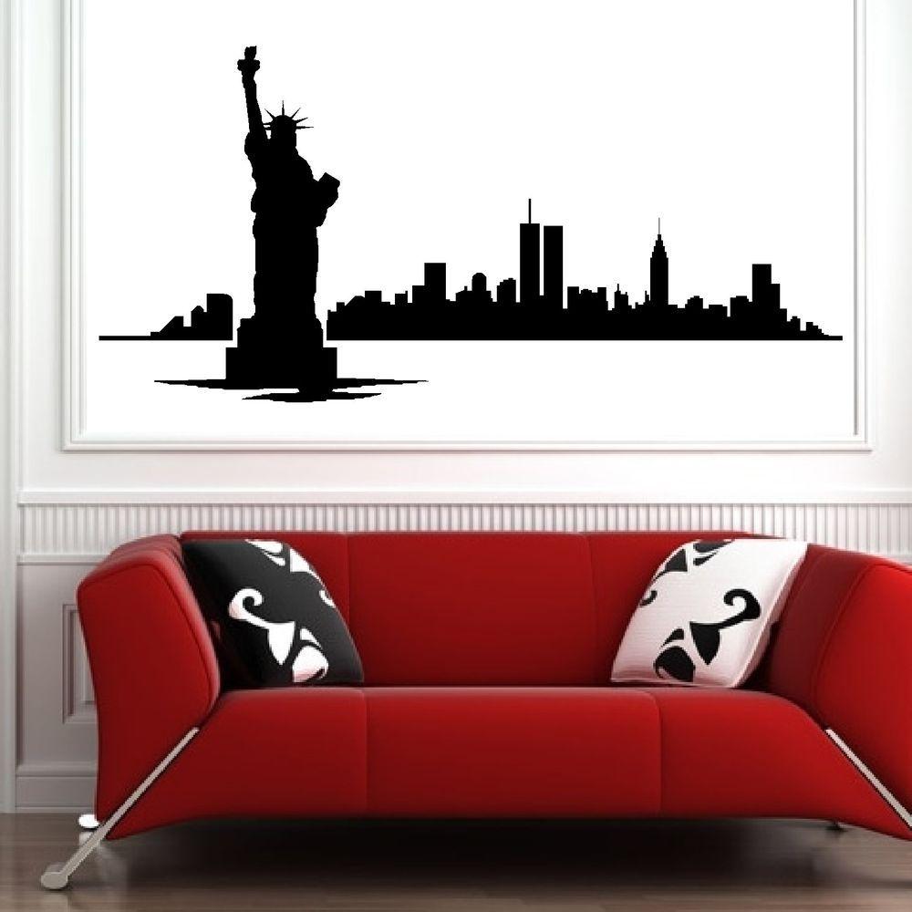 New york skyline vinyl wall art room sticker decal bedroom modern