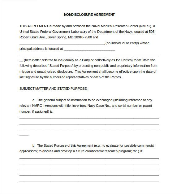 10 Non Disclosure Agreement Templates Word Excel Pdf Templates