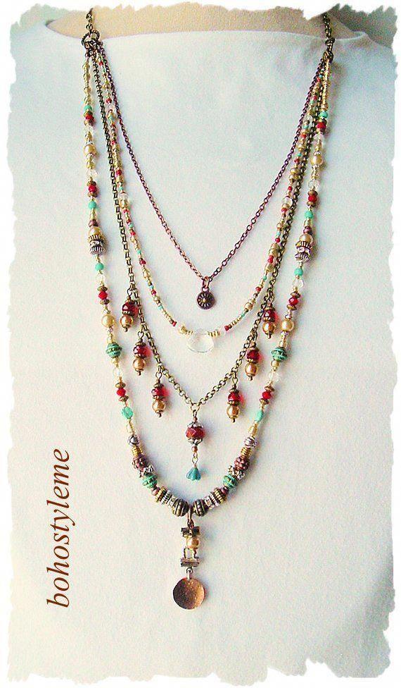Bohemian Jewelry Boho Beads Necklace Unique  Etsy
