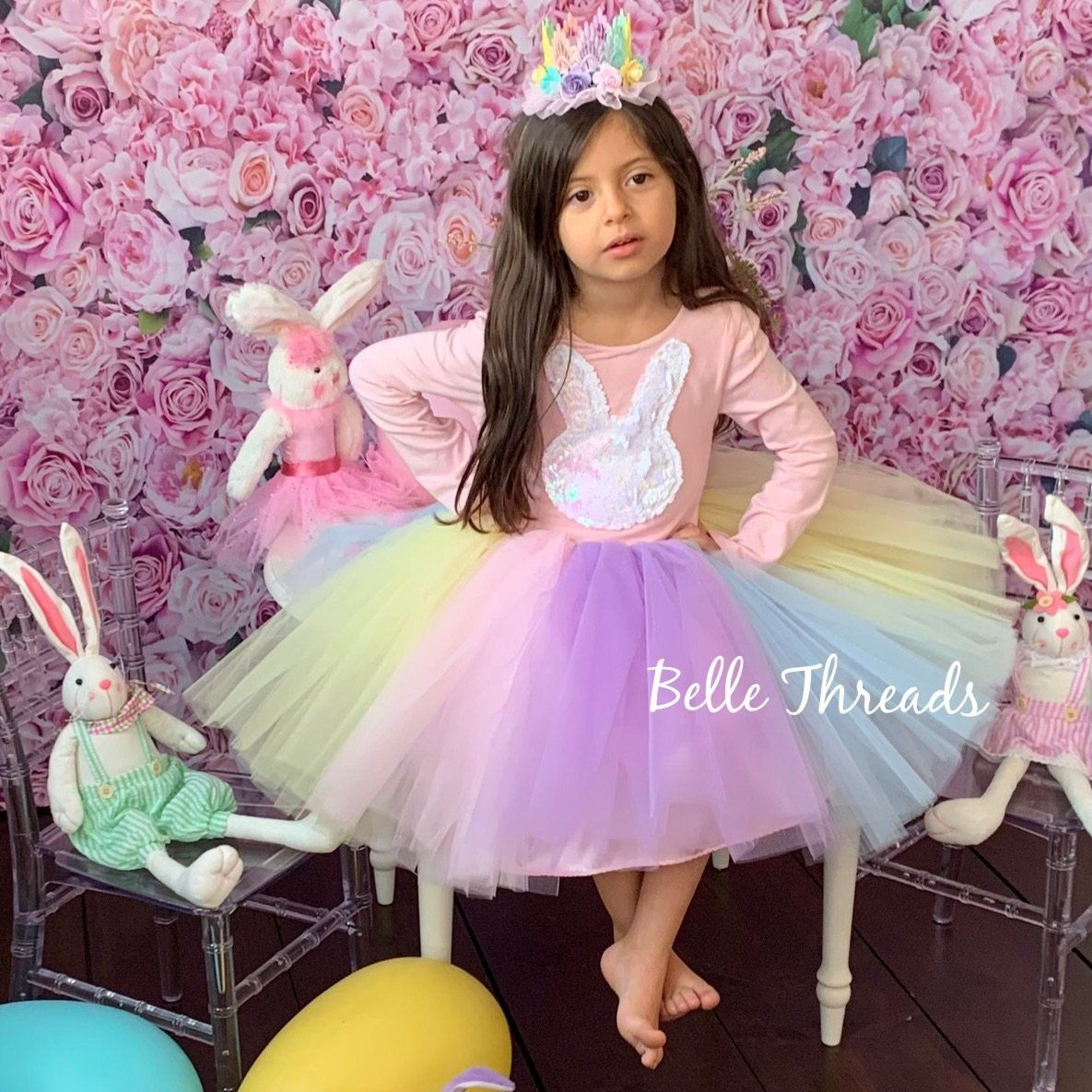 Rainbow Easter Bunny Tutu Dress made by Belle Threads