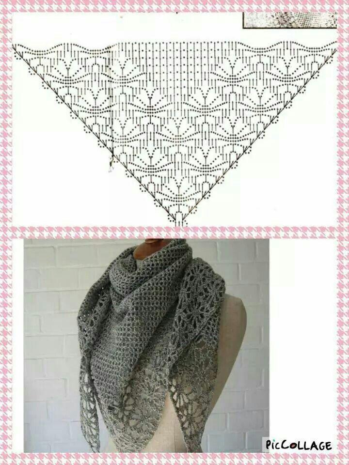 chal gris sin flecos | elise | Pinterest | Croché, Chal y Ganchillo