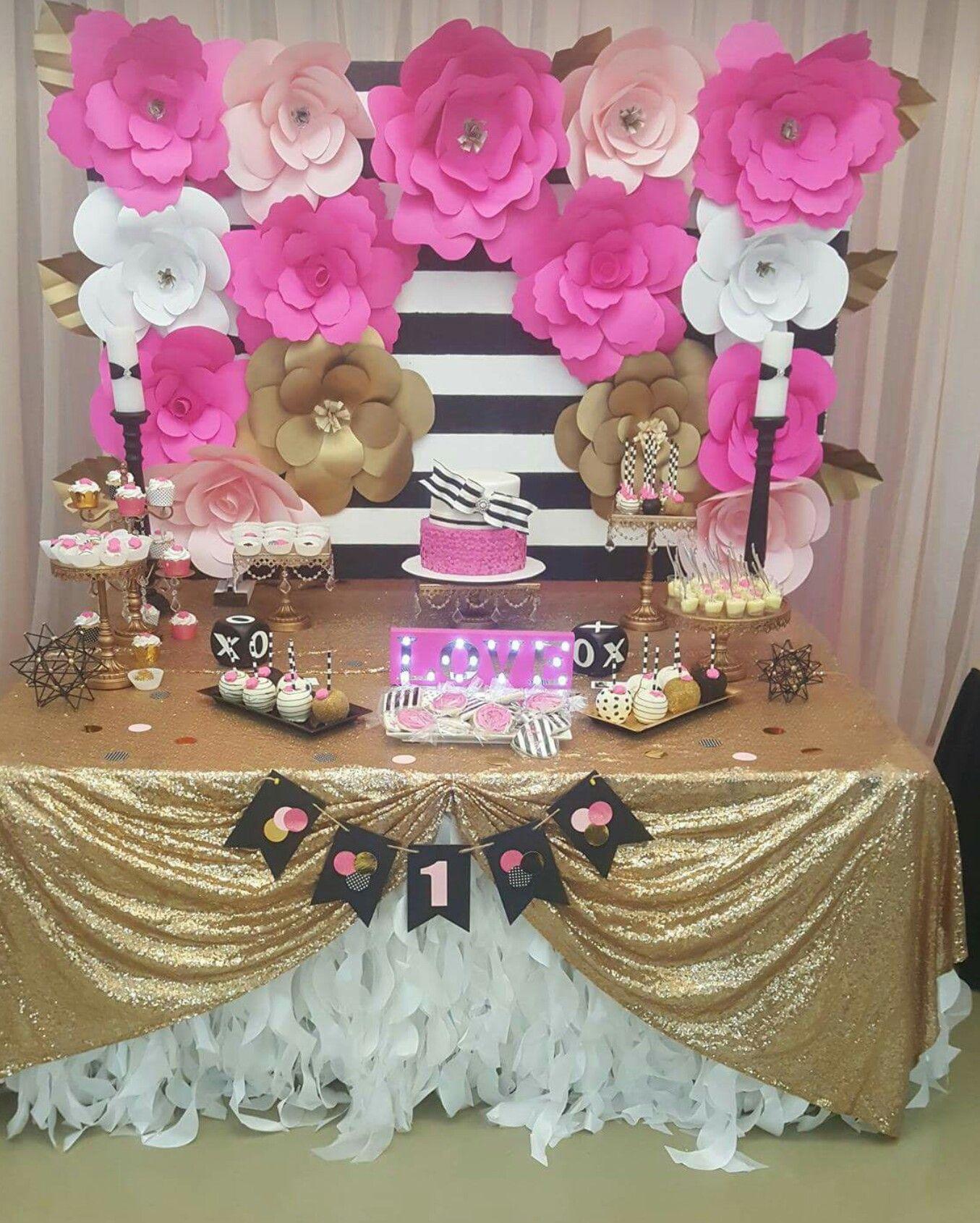 Kate Spade Treat Table Cake Pink Black Gold White