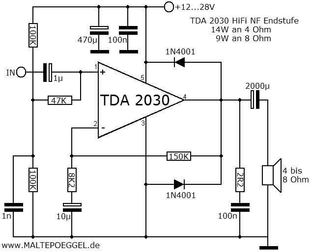 Bild: Schaltplan TDA2030 Audio Amplifier, Hifi Audio