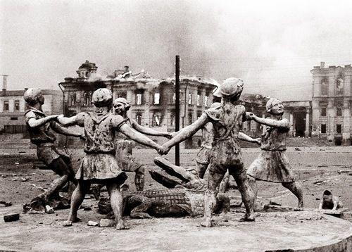 "Emmanuel Evzerihin  Fountain ""Dancing Children"" after German bombing. Stalingrad, 1942."