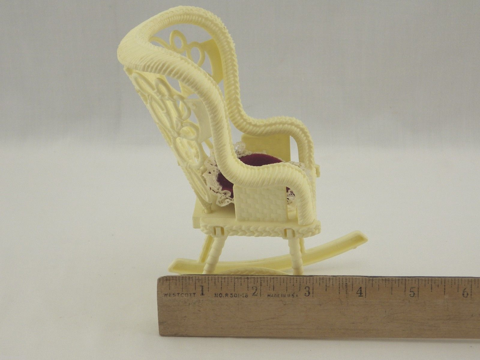 Doll House Miniature Sunshine Family Baby's Wicker Rocking Chair Nursery Pillow | eBay
