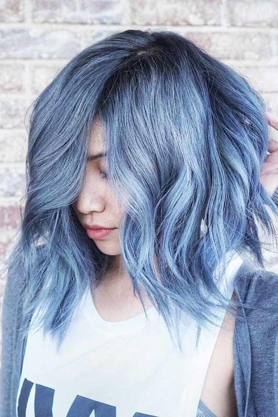 Light Blue Hair Color Short Hairstyles Curly Wavy Curls Waves Dark Root Dye Pastel Denim Hair Short Hair Color Light Blue Hair