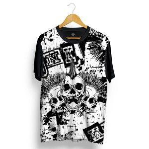 2547fa534 Camiseta Insane 10 Caveiras Punks Full Print Preto Branca