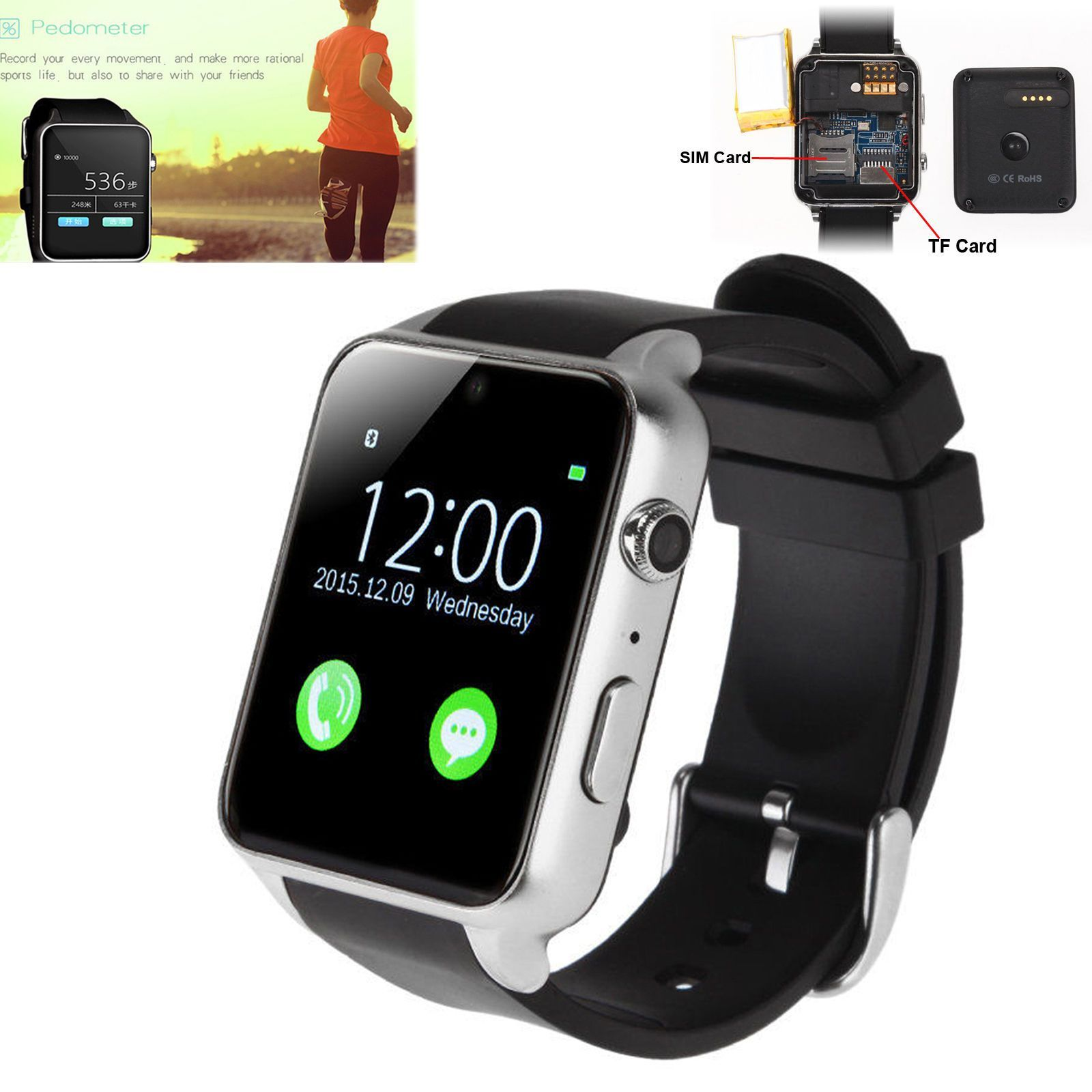 Touch Screen Heart Rate Camera Bluetooth Smart Watch For Samsung S7 S6 A5 Note 5