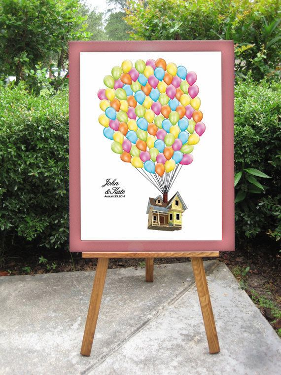 disney s up wedding guest book alternative balloons sign in