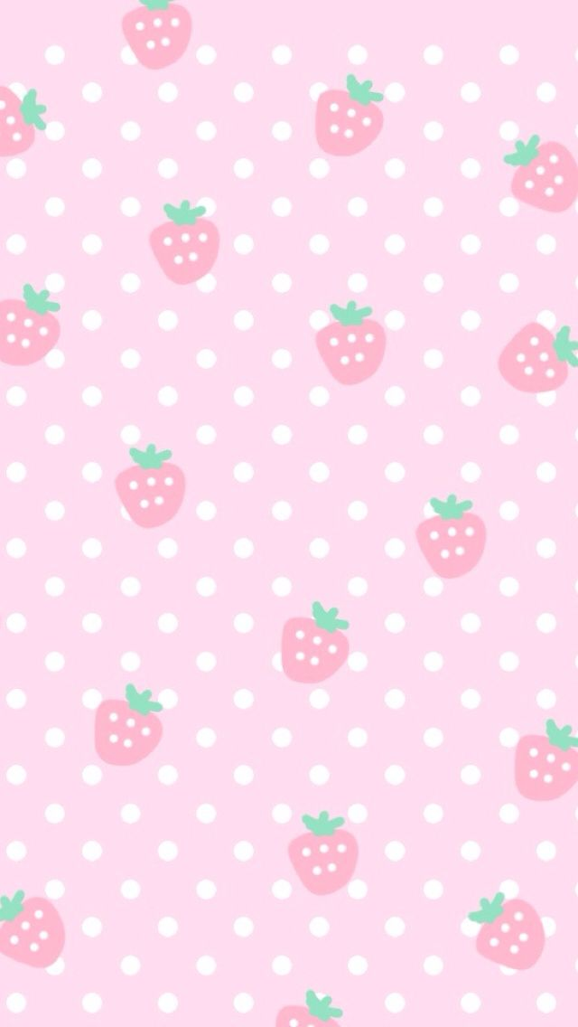 pink cute strawberries cocoppa iphone wallpaper iphone