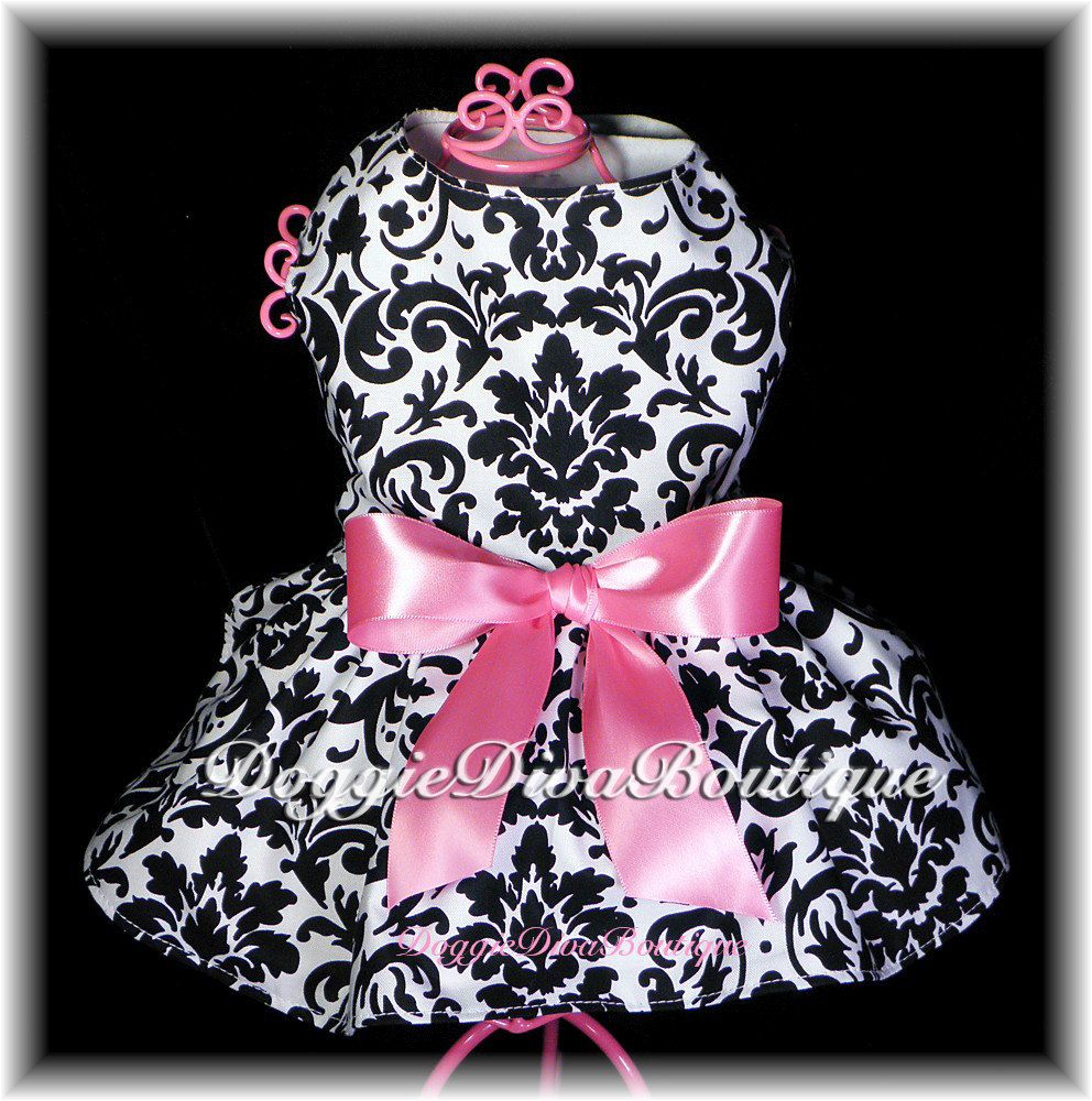 Dog Dress Couture Damask XXS, XS or Small Custom. $20.00, via Etsy.