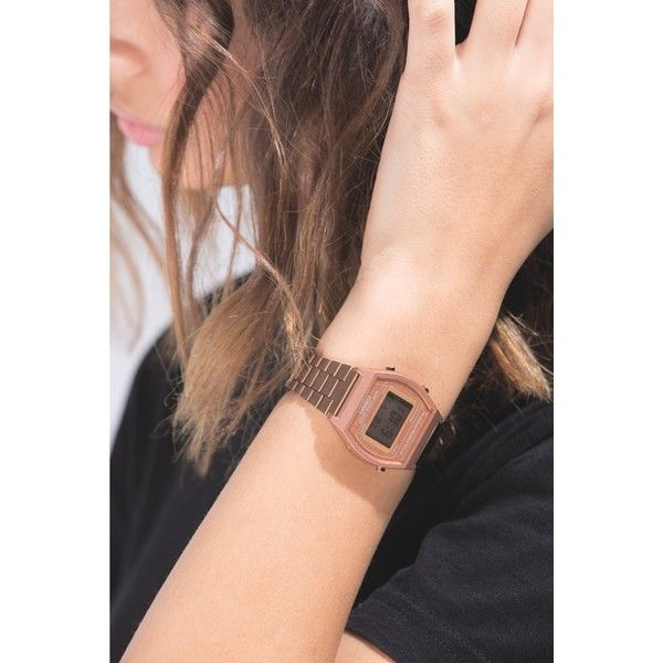 ROSE GOLD CASIO ($73) ❤ liked on Polyvore featuring jewelry, watches, pink gold watches, digital wristwatch, rose gold watches, water resistant watches and pink gold jewelry