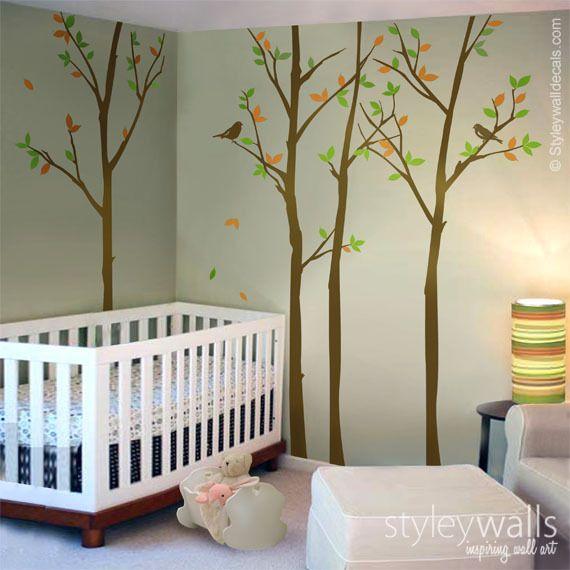 wandtattoo wald bäume mit vögeln kinderzimmer deko | deko and products - Kinderzimmer Deko Dawanda