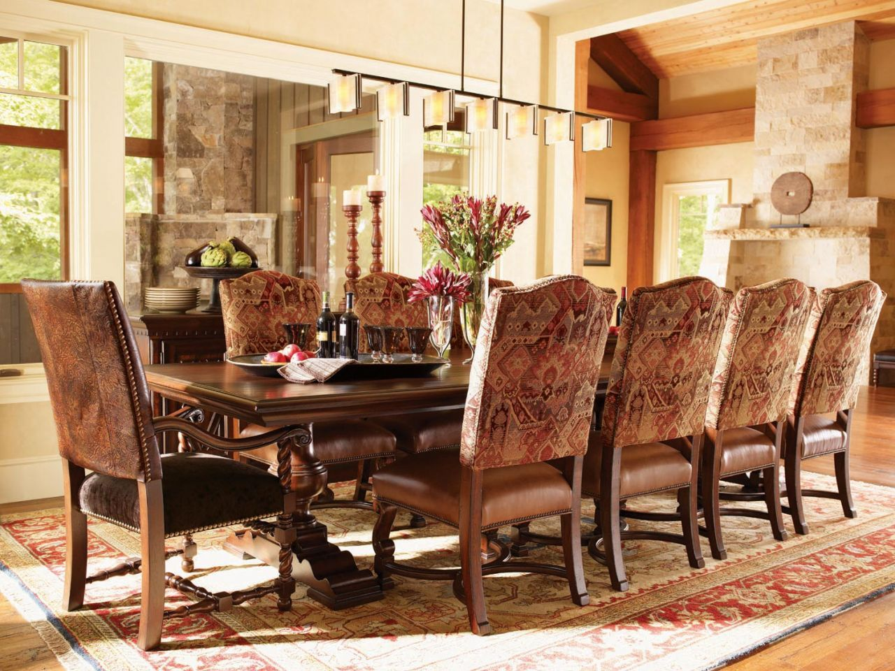 Home Gallery Furniture For Lexington Dining Room Fieldale Lodge Silverton Rectangular Double Pedestal Table