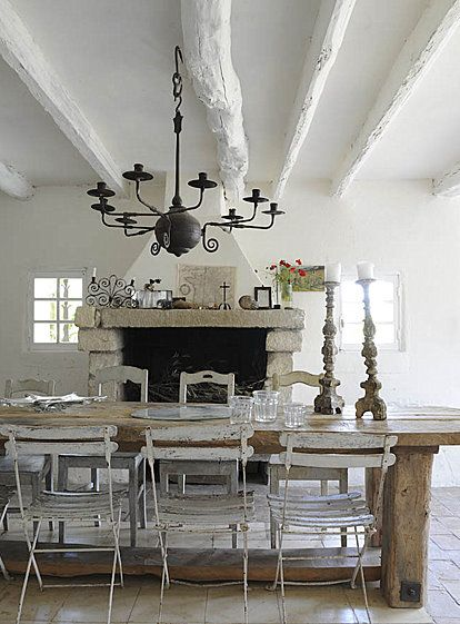 47 Cool And Airy Rustic Dining Room Designs With White Wall Stone Fireplace Wooden Beams Table Bar Stool Chair