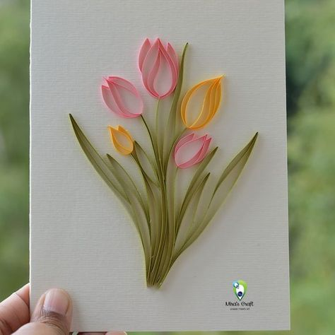 3D Handmade Card Quilling Card, Quilled Tulip Flower, Love Card Paper Quilling