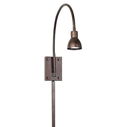 LED Bronze Gooseneck Plug In Swing Arm Wall Lamp