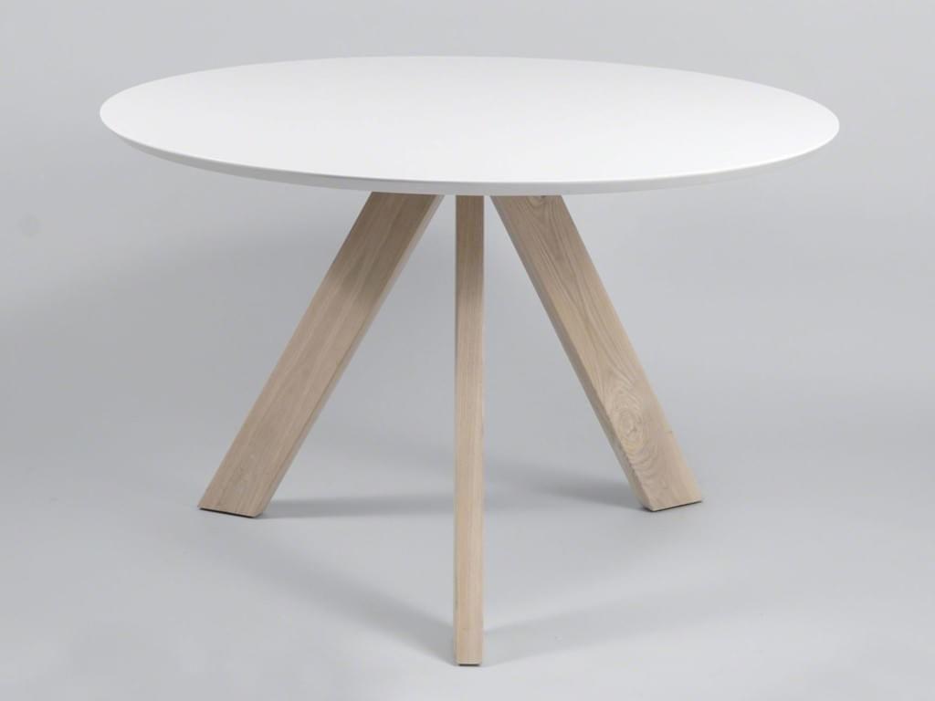 runder Esszimmertisch 39 cm MILIAN mit weißer runder Tischplatte