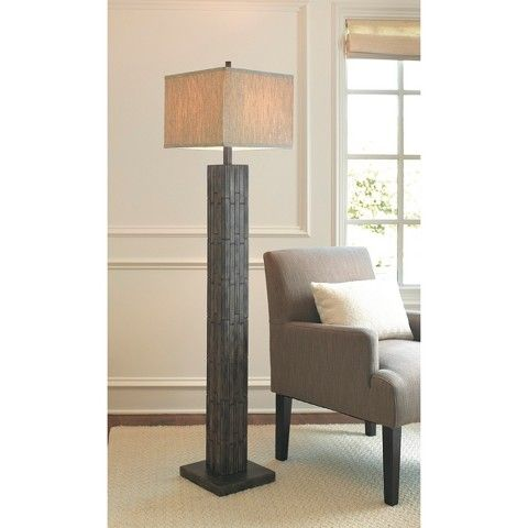 Mosaic Wood Look Floor Lamp With Square Linen Shade Brown ...