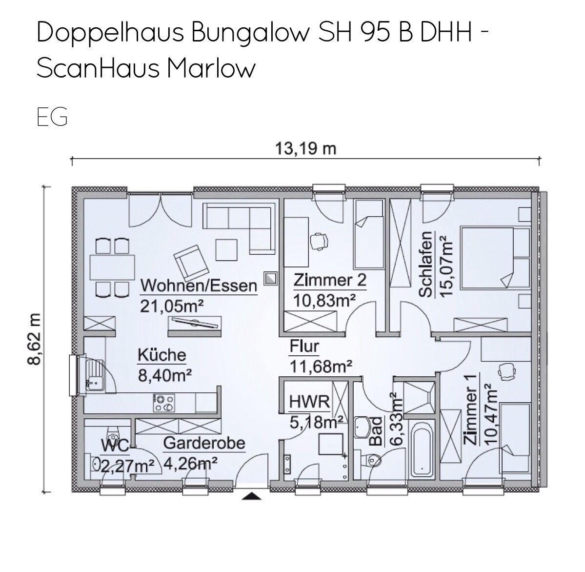 Doppelhaus Grundriss ebenerdig mit Walmdach Architektur