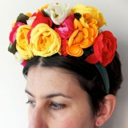 Make a Floral headband for a Frida Kahlo Halloween costume or even a bridal headpiece.