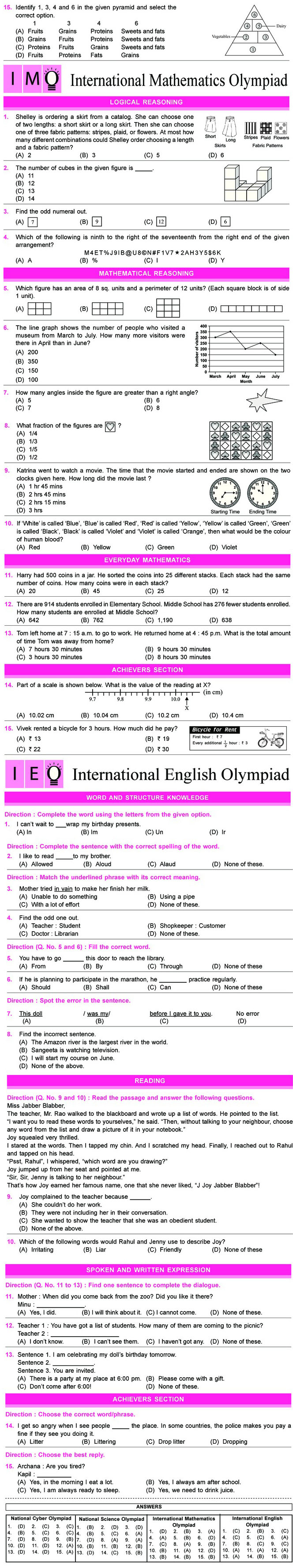 NCO, NSO, IMO & IEO Class 5 Sample Papers | NSO | Pinterest | Sample ...