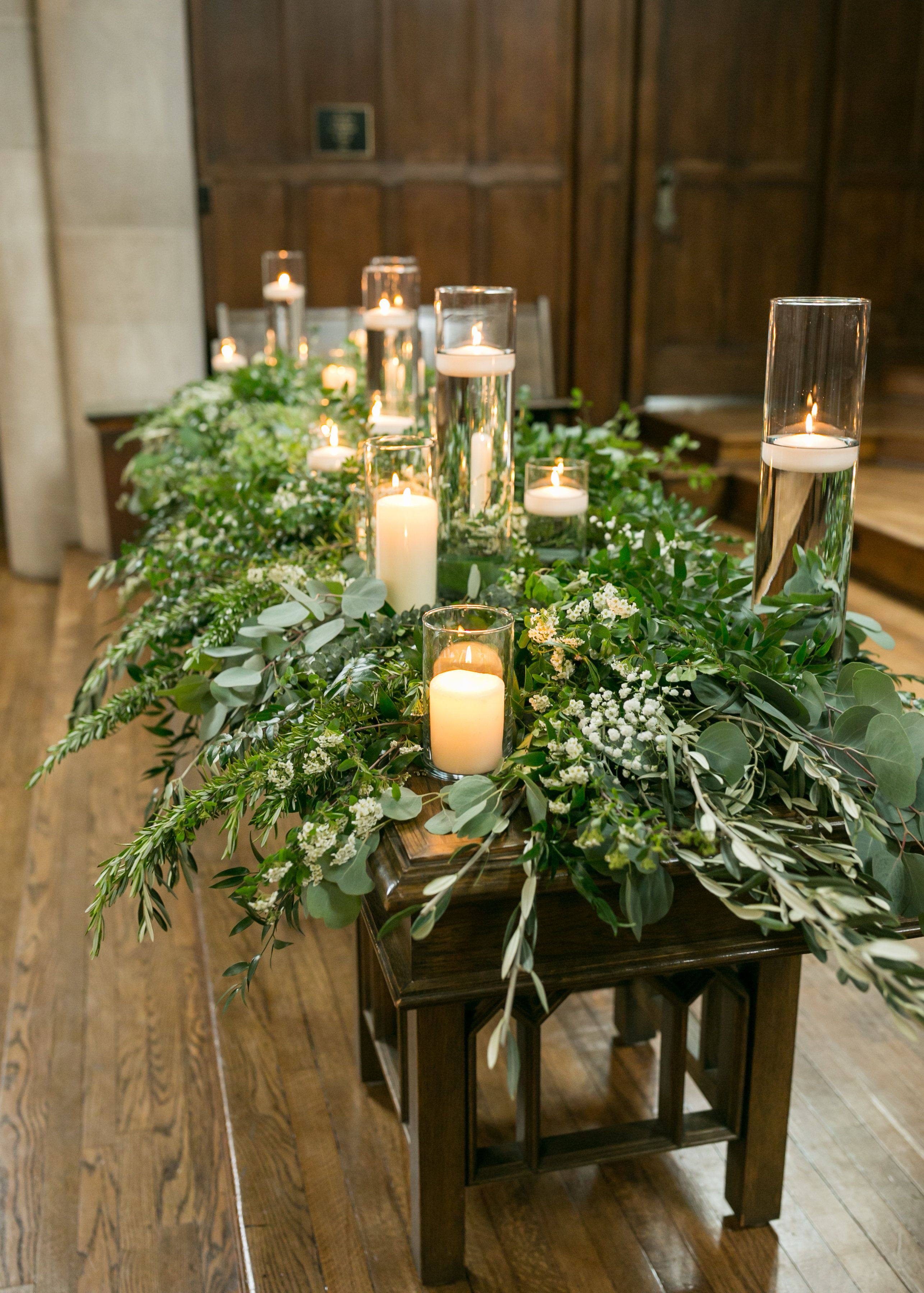 Lush And Full Mixed Greenery Altar Decor Greenery And Candles