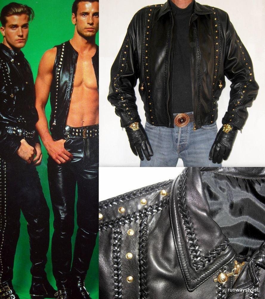 Gianni Versace Men S Gold Medusa Head Black Leather Jacket
