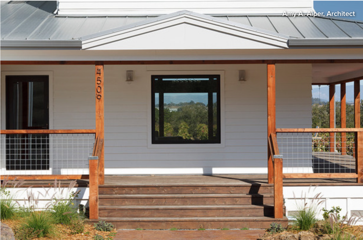 Frame hog wire panels as porch railing Modern farmhouse