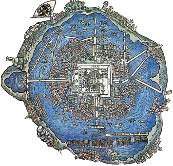 Tenochtitlan map >>> Today the lake is long drained and ...
