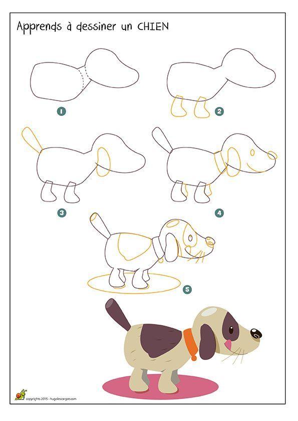 Dessiner un chien avec des formes simples apprendre - Apprendre a dessiner des animaux mignon ...