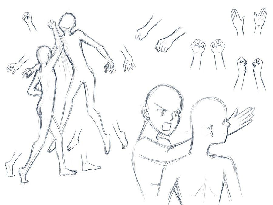 Sketch examples of how to draw one character punching