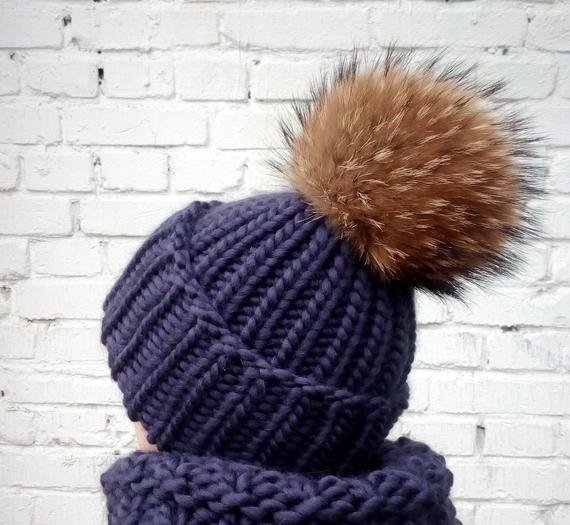 ea81e538ef673b Chunky Knit Hat Huge Raccoon Fur Pom pom Beanie Hand Knit Hats Blue Beanie  Fur Pompom Hat Pom Cap Bu