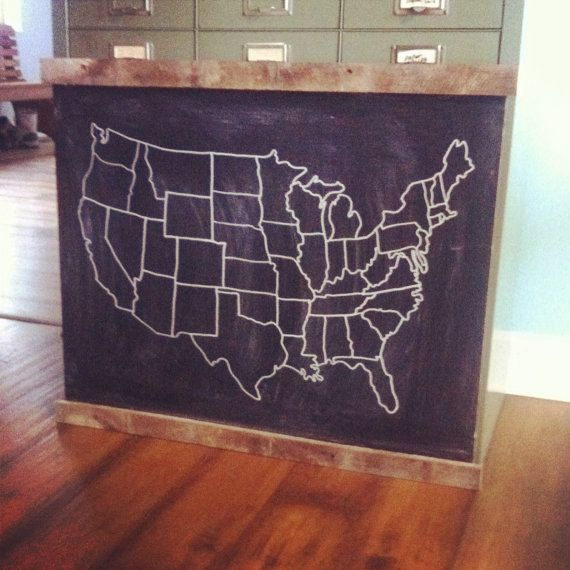 Large Chalkboard USA Map By LifeontheHomestead On Etsy For The - Us map chalkboard