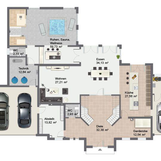 LuxusFertighaus Cannstatt Erdgeschoss Grundriss