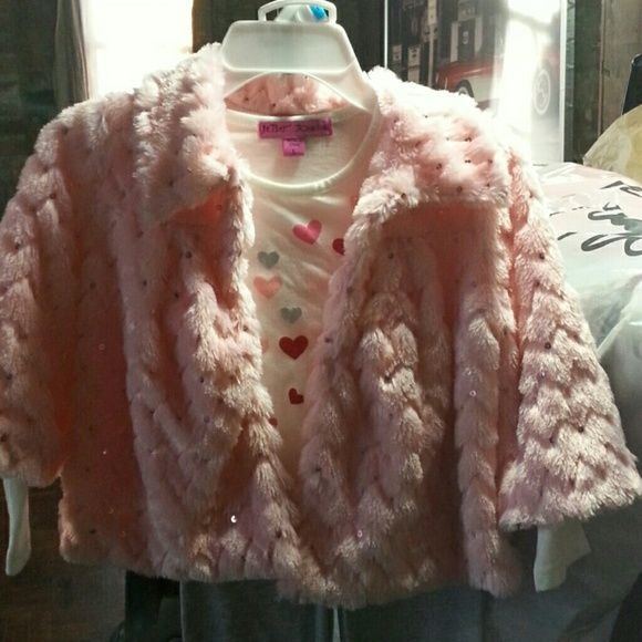 Pink Betsey Johnson 3 piece So cute. Little girl size 5!  3 pieces! Faux fur pink jacket with sequins, 1 hook closure. Long sleeve tee underneath with hearts and Betsey logo. Pants have flowers on the side of ankles! Fashion forward!! Betsey Johnson Sweaters Cardigans