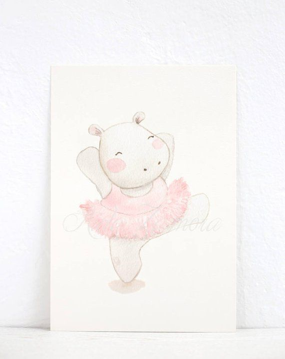 Nursery art hippo ballerina art print pink wall art for Decorazioni pareti cameretta neonato