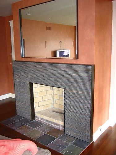 fireplace slate. Contemporary Fireplace Surround  Stacked Slate in a Steel Frame Design