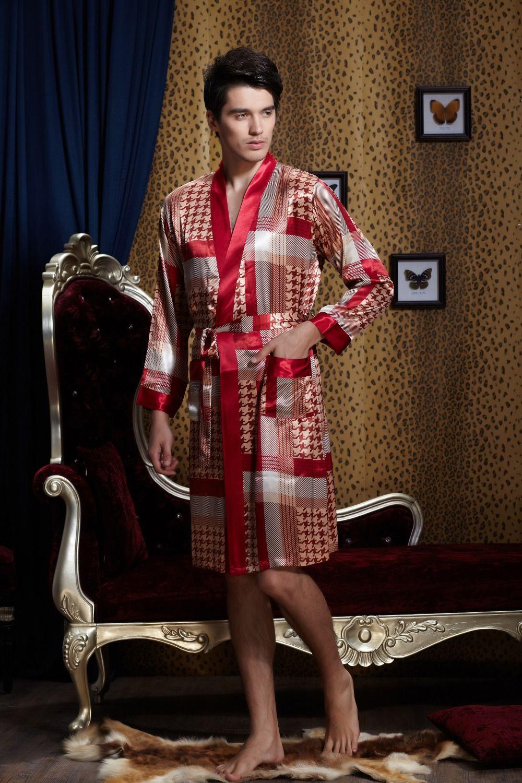 Top Quality Natural Silk Men Robes Fashion Printed Silk Male ...