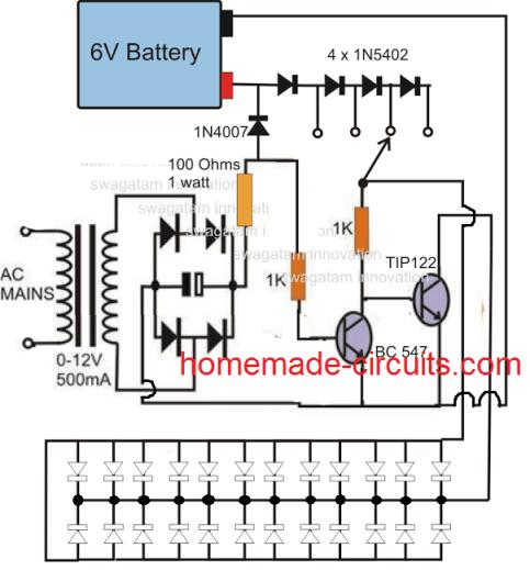 circuit diagram of 6v emergency light npn emergency lamp  npn emergency lamp