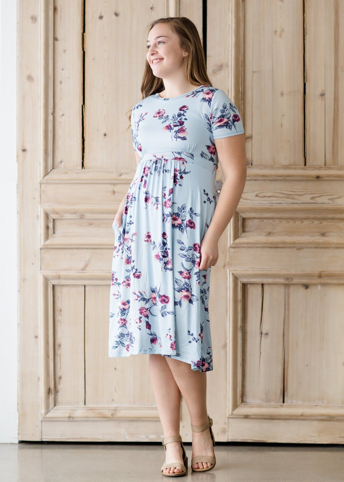 Modest Womens Floral Swing Midi Dress  Inherit Co Source by inheritco Source by WomenClothesFashionus dresses for church