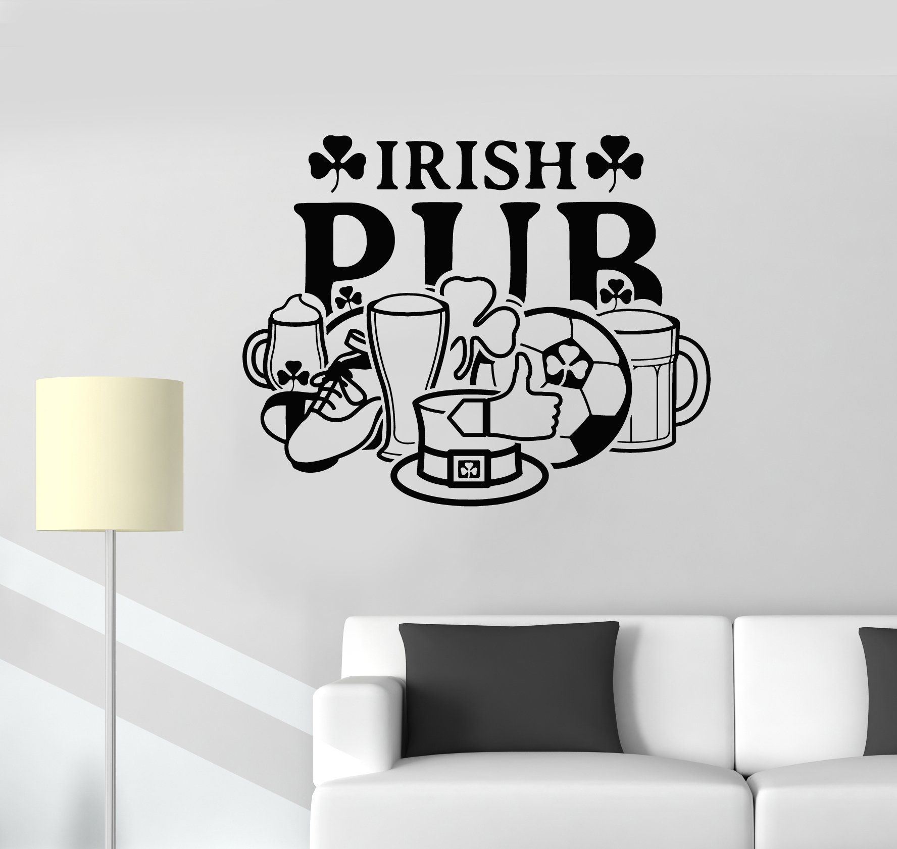 Vinyl Wall Decal Irish Pub Sign Window Ireland Symbol Bar